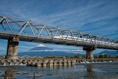 Mount Fuji and high speed train Stock Image