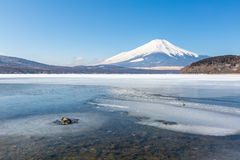 Mount Fuji Iced Yamanaka Lake Royalty Free Stock Photo