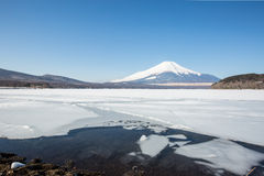 Mount Fuji Iced Yamanaka Lake Stock Photos