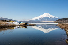 Mount Fuji Iced Yamanaka Lake Royalty Free Stock Image