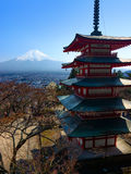 Mount Fuji and the iconic five-storied Chureito Pagoda during spring in Japan royalty free stock photography
