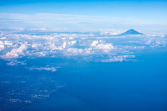 Mount Fuji, Japan. Aerial view of Mount Fuji Japan with cloudy sky stock photography