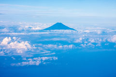 Mount Fuji, Japan. Aerial view of Mount Fuji Japan with cloudy sky royalty free stock photos