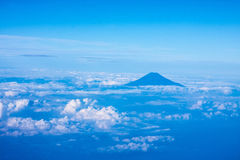 Mount Fuji, Japan. Aerial view of Mount Fuji Japan with cloudy sky stock photo