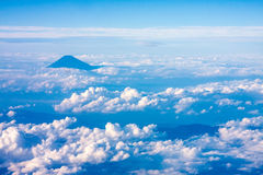 Mount Fuji, Japan. Aerial view of Mount Fuji Japan with cloudy sky royalty free stock images