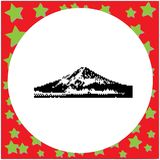 Mount Fuji Japan black 8-bit vector illustration isolated. On round white background with stars Vector Illustration