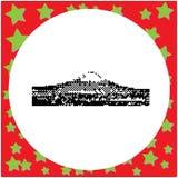 Mount Fuji Japan black 8-bit vector illustration isolated. On round white background with stars stock illustration