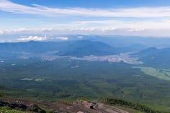 Mount fuji, japan climbing from yoshida trail. Royalty Free Stock Image