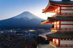 The mount Fuji, Japan. The mount Fuji with red pagoda, Japan royalty free stock photos