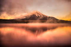 Mount Fuji, Japan. Mount Fuji reflected in Lake Yamanaka at dawn, Japan Royalty Free Stock Photography