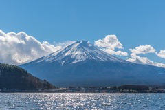 Mount Fuji at Japan. View of Mount Fuji with blue sky royalty free stock photography
