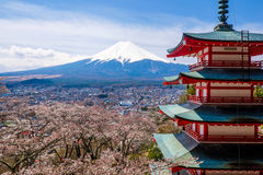 The mount Fuji, Japan. View of the majestic mount Fuji in Japan royalty free stock photos