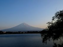 Mount Fuji, Japan. View of Mount Fuji from the north side of Lake Kawaguchiko stock images