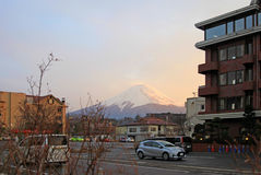 MOUNT FUJI FROM KAWAGUCHI, JAPAN. A view of Mount Fuji as viewed from the town of Kawaguchi in Yamanashi Prefecture in Japan royalty free stock images