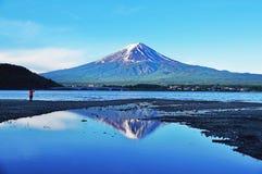 Mount Fuji and Kawaguchigo lake in the morning Royalty Free Stock Photography