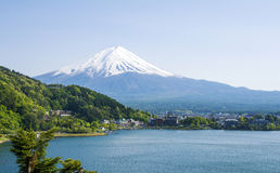 Mount Fuji with Kawaguchiko lake. And the clear sky royalty free stock photos