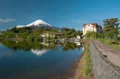 Mount Fuji from Kawaguchiko lake in Japan. During the sunrise with beautiful blue sky Royalty Free Stock Photography