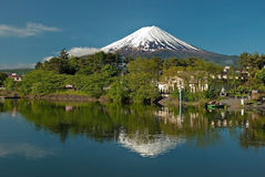 Mount Fuji from Kawaguchiko lake in Japan. During the sunrise with beautiful blue sky Royalty Free Stock Photo