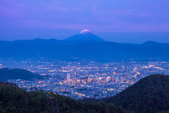 Mount Fuji. And Kofu city at night time Stock Photography