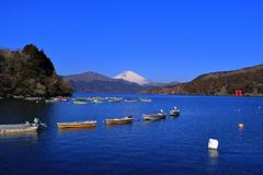 Mount Fuji of Lake Ashi with blue sky from Old Hakone Port Japan royalty free stock photography