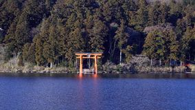 Mount Fuji with Lake Ashi from Hakone. Mount Fuji and a big red Torii (Gate to the Hakone Shrine) on the Ashinoko Lake Under the sky In the bright winter stock images