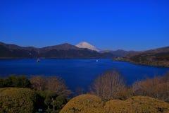 Mount Fuji and Lake Ashi from Onshi Hakone National Park Japan stock images