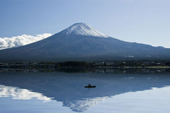 Mount Fuji, lake and boat. Royalty Free Stock Photos