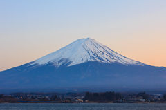 Mount Fuji and lake kawaguchi at sunset. Mount Fuji with snowcap and lake kawaguchi Stock Images