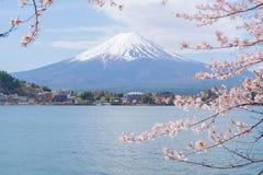 Mount Fuji from lake Kawaguchiko with cherry blossom. In Yamanashi, Japan stock photography
