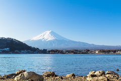 Mount Fuji from Lake Kawaguchiko, in Japan Royalty Free Stock Image