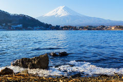 Mount Fuji from Lake Kawaguchiko, in Japan Stock Photo