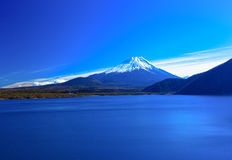 Mount Fuji and Lake Motosuko in winter, Japan Royalty Free Stock Image