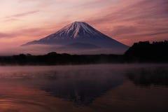 Mount Fuji and Lake Shoji at dawn. Mount Fuji and Lake Shoji or Shojiko with misty scenic at dawn Stock Photo