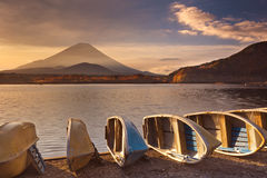 Mount Fuji and Lake Shoji in Japan at sunrise Royalty Free Stock Photo
