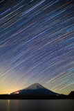 Mount Fuji, Lake Shojiko and star trails of winter stars Stock Images