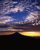 Mount Fuji LXIV. Silhouette of Mount Fuji against a beautiful morning sky Royalty Free Stock Photos