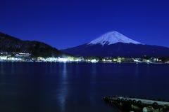 Mount Fuji midnattsblått Arkivfoto