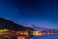 Mount Fuji and Milky Way. Mount Fuji with Milky Way at Lake Kawaguchi, Yamanashi Prefecture, Japan stock photo