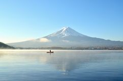 Mount fuji in the morning at kawaguchiko lake japan Royalty Free Stock Image