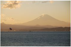 Mount Fuji. Silhouette during sunsuet, view from Enoshima island, Kamakura, Japan Stock Image