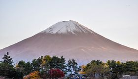 Mount Fuji mountain in Japan in art background and vintage tone. Stock Photo