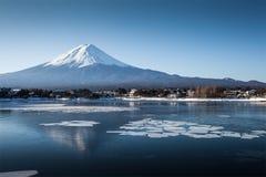 Mount Fuji. Mountain Fuji and Lake kawagushiko with ice and snow in winter season. Lake Kawaguchi is located in the border Fujikawaguchiko and Minobu, southern royalty free stock image