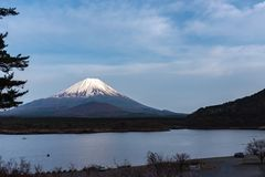 Mount Fuji or Mt. Fuji, the World Heritage, view in Lake Shoji ( Shojiko ). Fuji Five Lake region. Minamitsuru District, Yamanashi prefecture, Japan. Landscape stock images