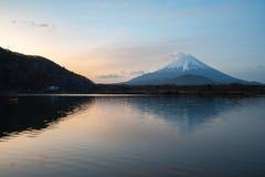 Mount Fuji or Mt. Fuji, the World Heritage, view at Lake Shoji Shojiko in the morning. Fuji Five Lake region, Minamitsuru District, Yamanashi prefecture, Japan royalty free stock image