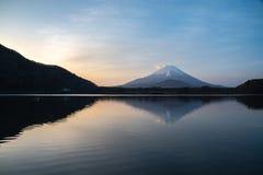 Mount Fuji or Mt. Fuji, the World Heritage, view at Lake Shoji Shojiko in the morning. Fuji Five Lake region, Minamitsuru District, Yamanashi prefecture, Japan royalty free stock photo