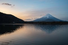Mount Fuji or Mt. Fuji, the World Heritage, view at Lake Shoji Shojiko in the morning. Fuji Five Lake region, Minamitsuru District, Yamanashi prefecture, Japan stock images