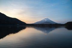Mount Fuji or Mt. Fuji, the World Heritage, view at Lake Shoji Shojiko in the morning. Fuji Five Lake region, Minamitsuru District, Yamanashi prefecture, Japan royalty free stock photography