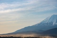Mount Fuji or Mt. Fuji, the World Heritage, view at Lake Shoji ( Shojiko ). Fuji Five Lake region, Minamitsuru District, Yamanashi prefecture, Japan. Landscape stock photography