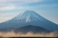 Mount Fuji or Mt. Fuji, the World Heritage, view at Lake Shoji ( Shojiko ). Fuji Five Lake region, Minamitsuru District, Yamanashi prefecture, Japan. Landscape royalty free stock photography