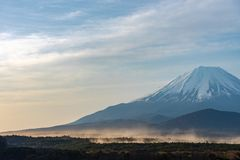 Mount Fuji or Mt. Fuji, the World Heritage, view at Lake Shoji ( Shojiko ). Fuji Five Lake region, Minamitsuru District, Yamanashi prefecture, Japan. Landscape stock photo